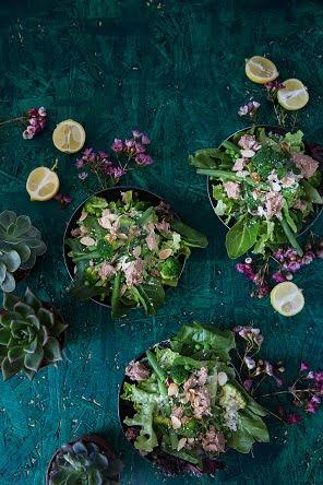 טונה וסלט ירוקים (צילום: טל-ציפורין)