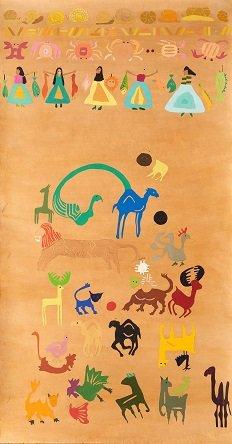 """אלהם רוקני, סיפורי כפר, 2019, שמן על נייר, ×15080 ס""""מ, באדיבות האמנית (צילום: יאיר מיוחס)"""